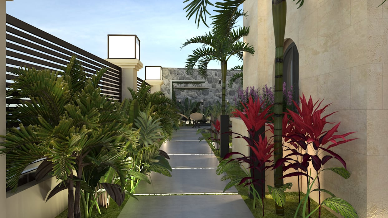 Entrance pathway:  Front yard by Saif Mourad Creations, Modern