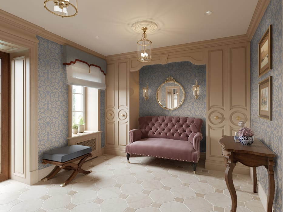 Прихожая в доме в Аносино. Коридор, прихожая и лестница в классическом стиле от MARION STUDIO Классический