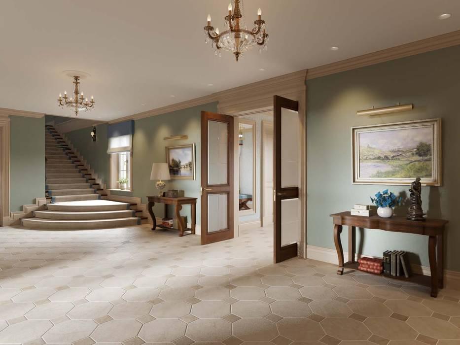 Холл первого этажа в доме в Аносино.: Коридор и прихожая в . Автор – MARION STUDIO, Классический