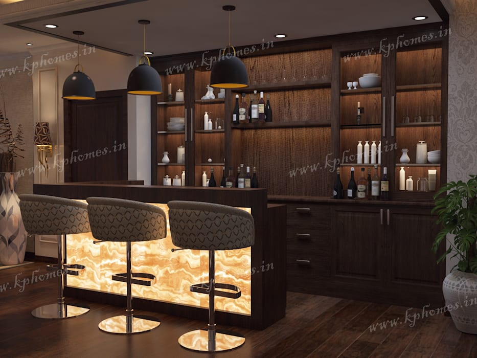 Bar with Onyx Backlit Colonial style wine cellar by Kphomes Colonial