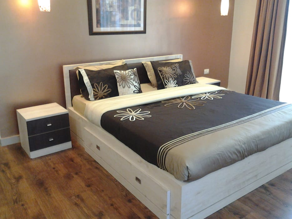 Rustic Bedroom with a Touch of Gold Rustic style bedroom by Kphomes Rustic