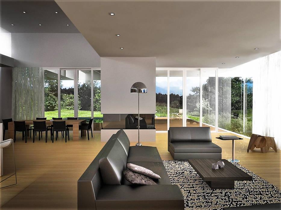 : Salas / recibidores de estilo  por RRA Arquitectura, Minimalista Madera Acabado en madera