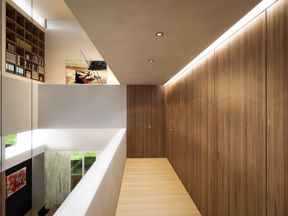 : Pasillos y vestíbulos de estilo  por RRA Arquitectura, Minimalista Madera Acabado en madera