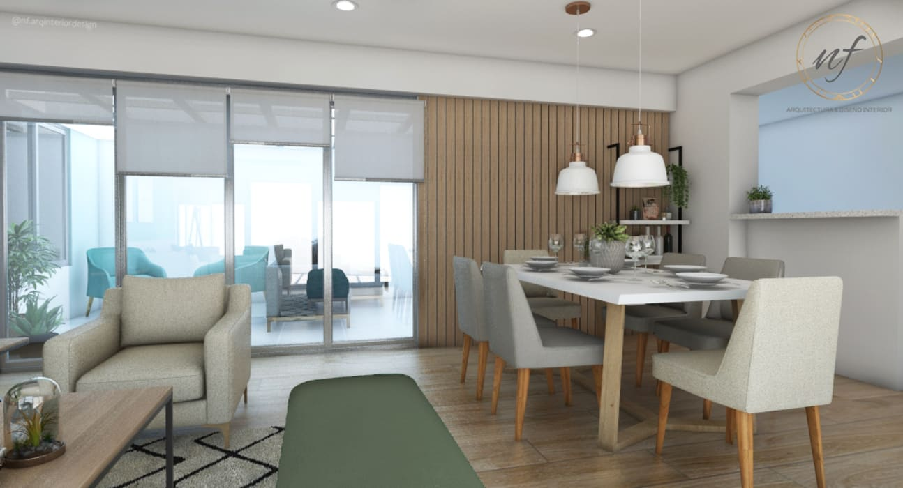 Propuesta Comedor Comedores de estilo escandinavo de NF Diseño de Interiores Escandinavo
