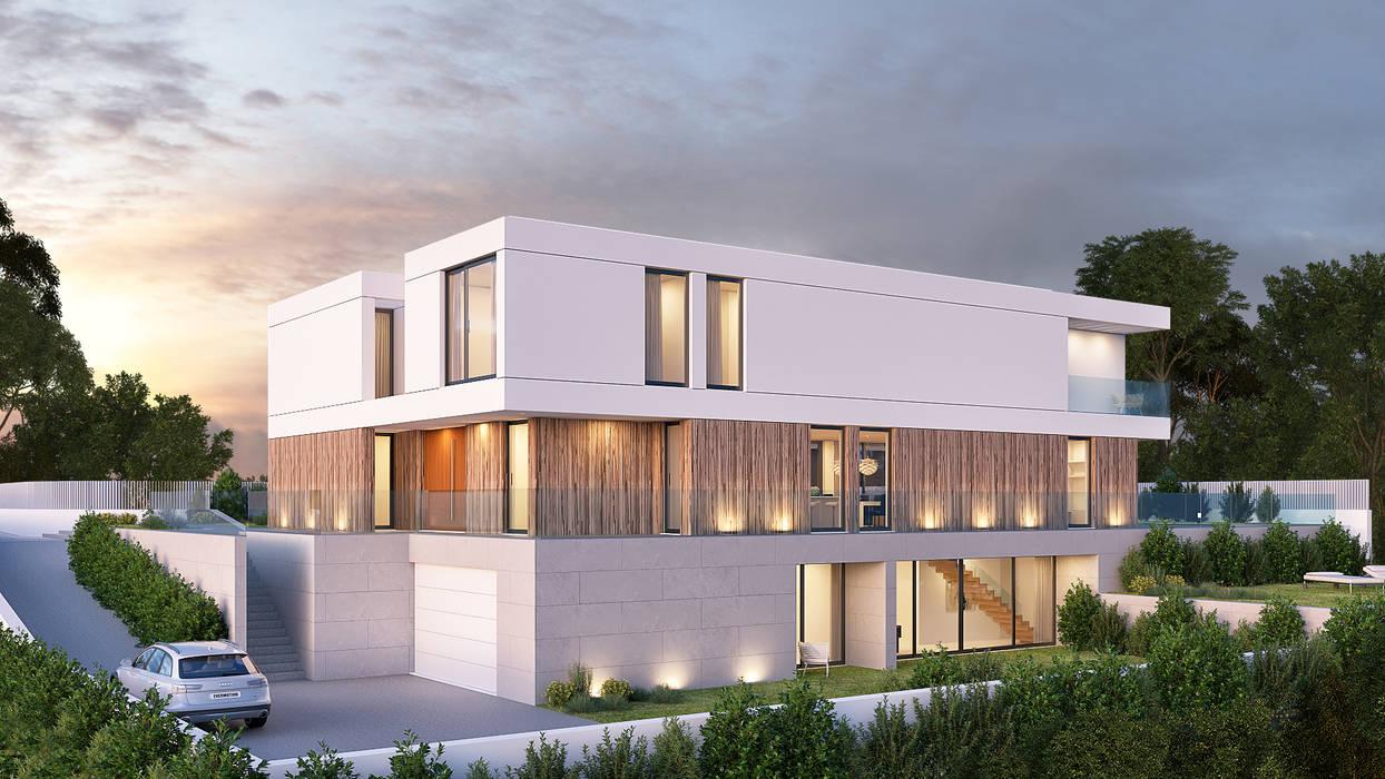 CASA RP1 - Moradia em Oeiras - Projeto de Arquitetura: Moradias  por Traçado Regulador. Lda,Moderno Madeira Acabamento em madeira