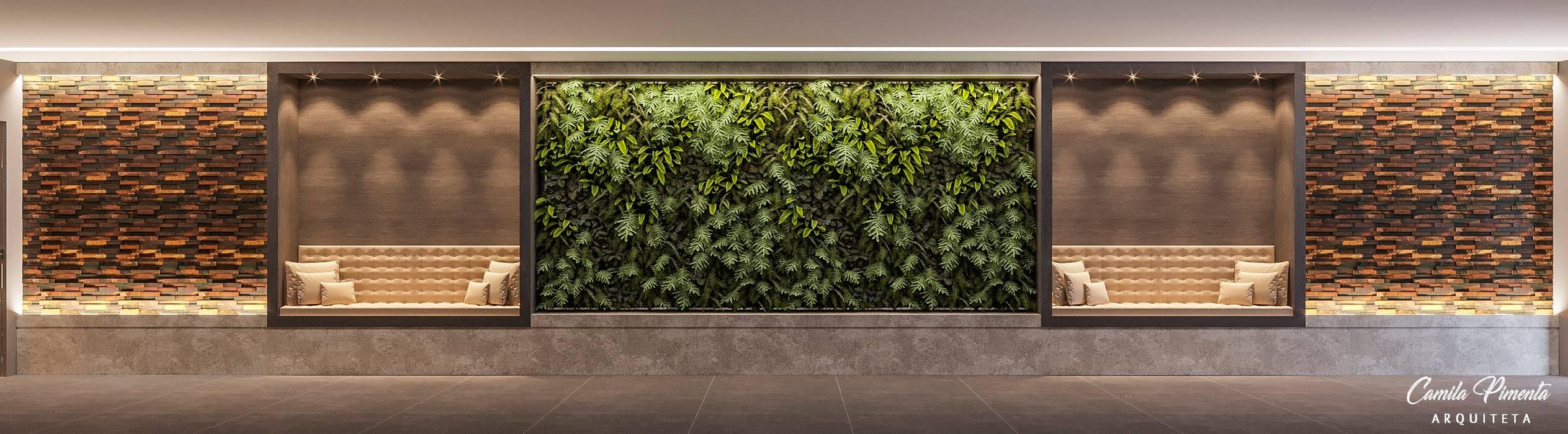 Studio moderno di Camila Pimenta   Arquitetura + Interiores Moderno Legno Effetto legno