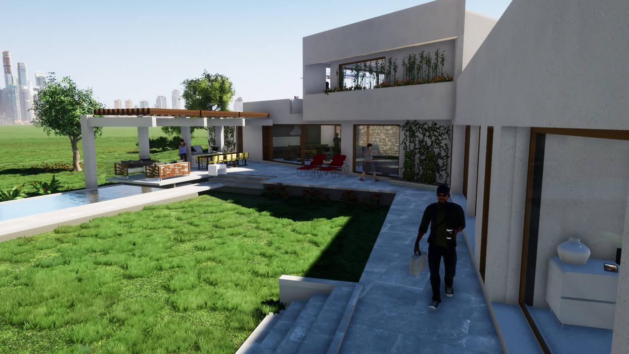 Fachada interior Casas de estilo mediterráneo de Casas del Girasol- arquitecto Viña del mar Valparaiso Santiago Mediterráneo