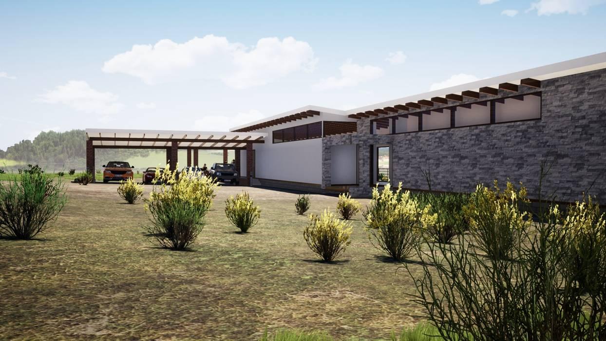 Fachada Norte Casas de estilo mediterráneo de Casas del Girasol- arquitecto Viña del mar Valparaiso Santiago Mediterráneo