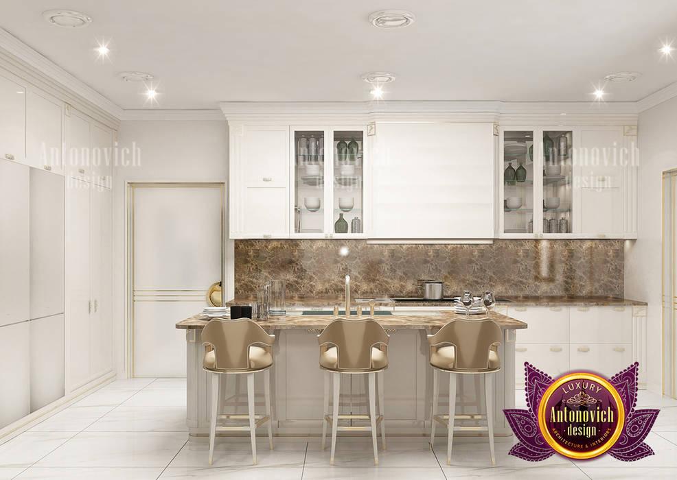 Kitchen Set in Clean Interior Design by Luxury Antonovich Design