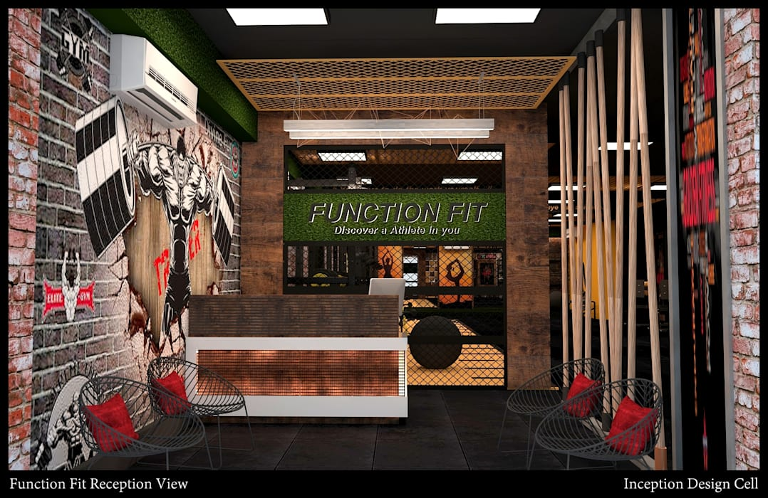 Reception Rustic style gym by Inception Design Cell Rustic Wood Wood effect