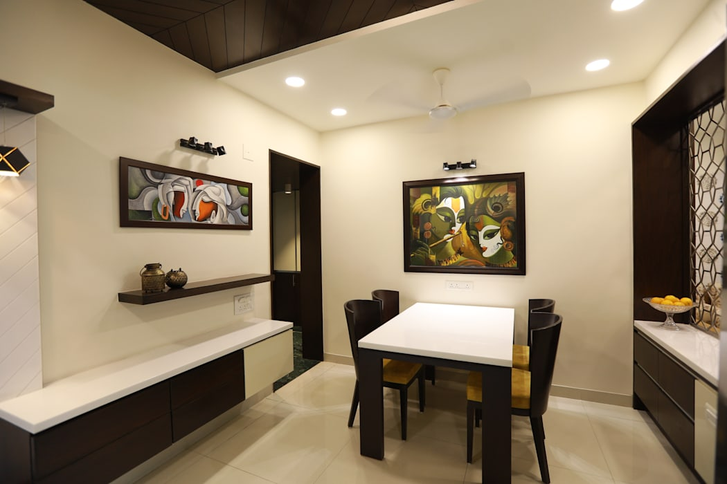 Sunita Sreeram house Modern Dining Room by Fluid Studio Modern Solid Wood Multicolored