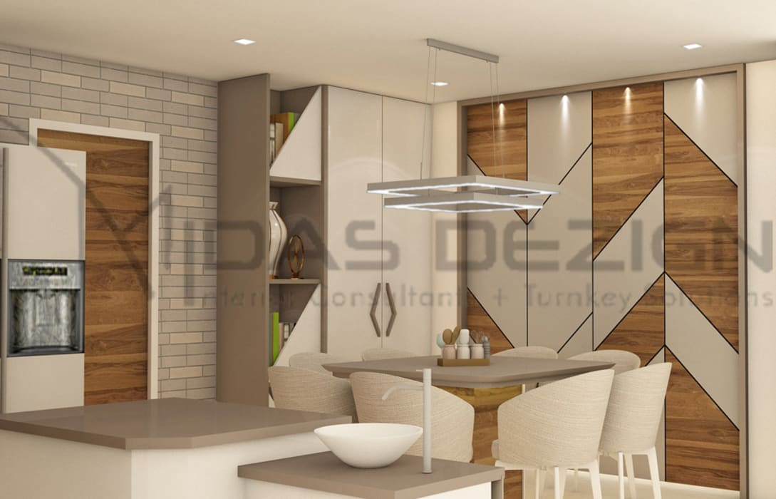 Open Kitchen with dining space Modern dining room by Midas Dezign Modern