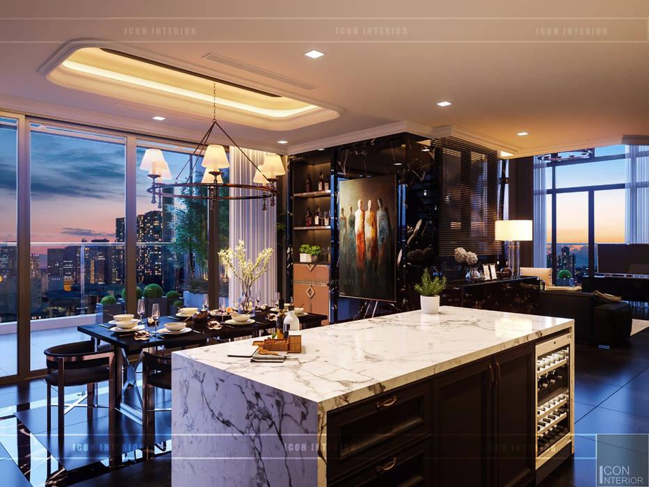 Phong cách hiện đại trong thiết kế nội thất Penthouse Masteri Nhà bếp phong cách hiện đại bởi ICON INTERIOR Hiện đại