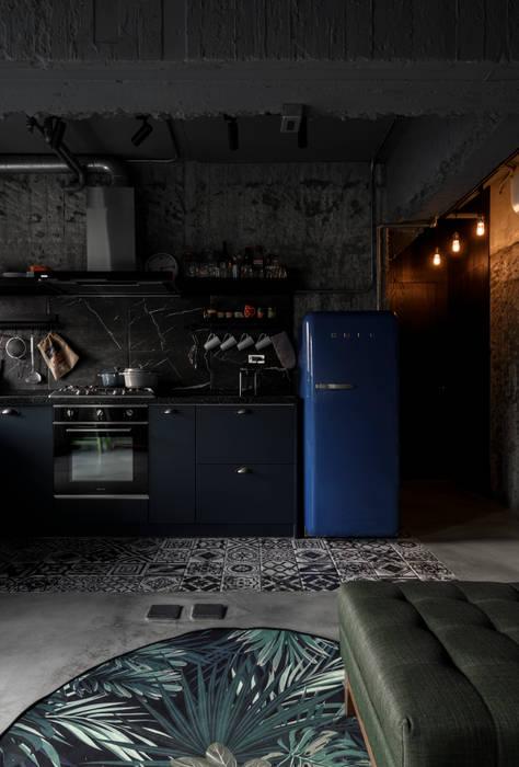 kitchen & living area 根據 湜湜空間設計 工業風