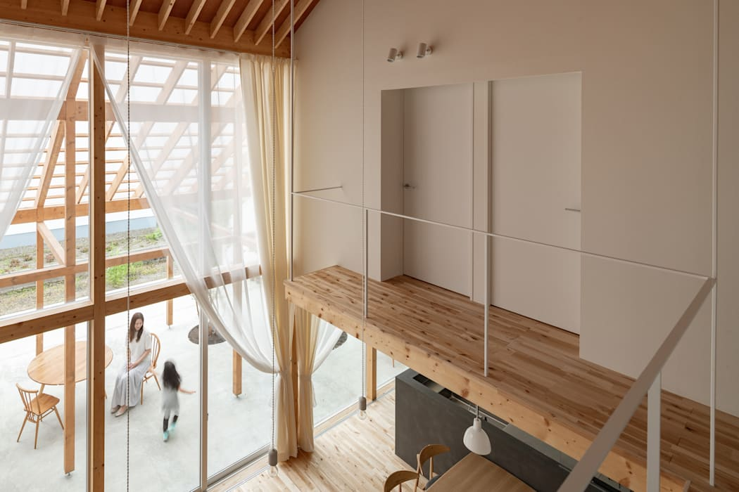 大きなテラスのある家 モダンデザインの リビング の 堀部太建築設計事務所 モダン 木 木目調