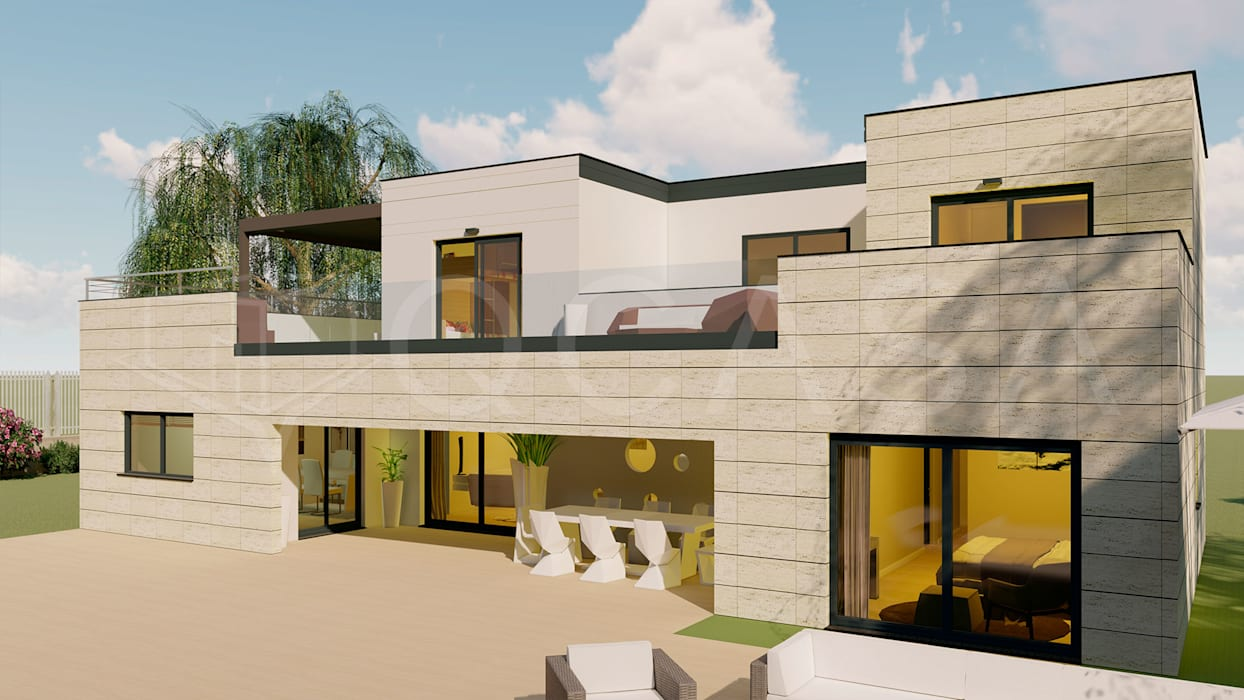 Oleh QCASA.Madrid. Viviendas industrializadas eficientes de hormigón Modern Beton