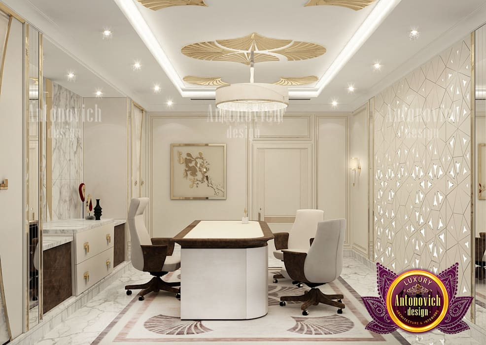 Extravagant Personal Home Office Design by Luxury Antonovich Design