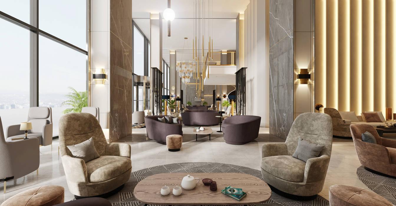 WALL INTERIOR DESIGN – OTEL LOBBY :  tarz Koridor ve Hol, Modern