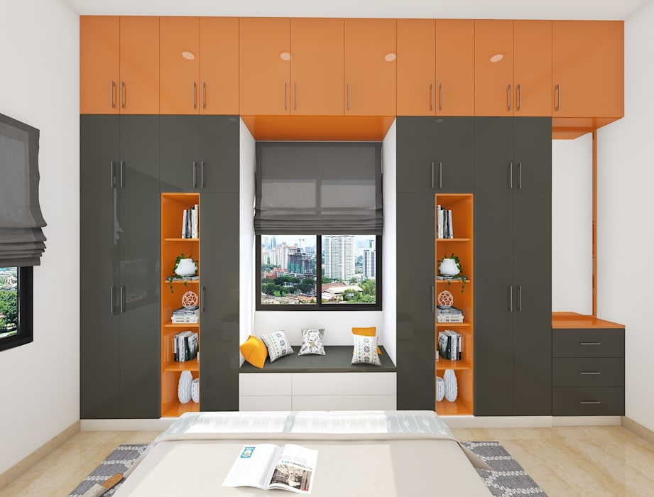 WINDOW SEATING DOUBLE SIDE WARDROBE Modern style bedroom by WILSON DOT INTERIORS Modern Plywood