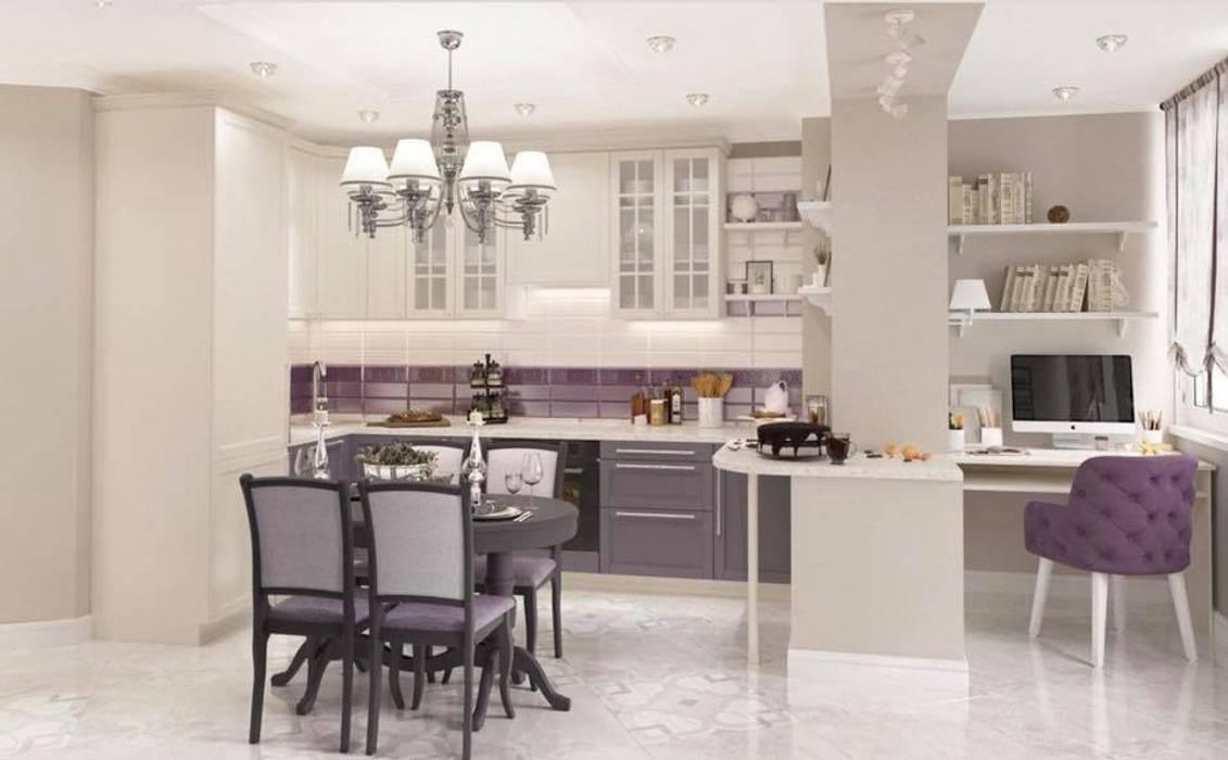 Kitchen open space inspiration with luxury brass chandelier decorated by Swarovski crystals. Oleh Luxury Chandelier Klasik Perunggu