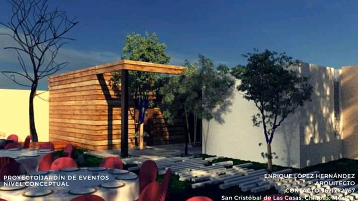 Jardín de eventos Las Flores de ELH Studio Arquitectura Moderno Cerámico