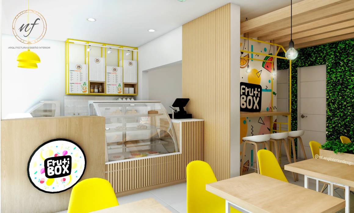 PROYECTO JUGUERIA FRUTI BOX : Restaurantes de estilo  por NF Diseño de Interiores , Escandinavo