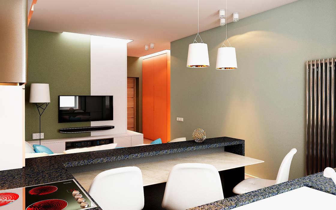 СТИЛЬНЫЙ МИНИМАЛИЗМ (гостиная, кухня-столовая) STUDIO DESIGN КРАСНЫЙ НОСОРОГ Столовая комната в стиле минимализм Многоцветный
