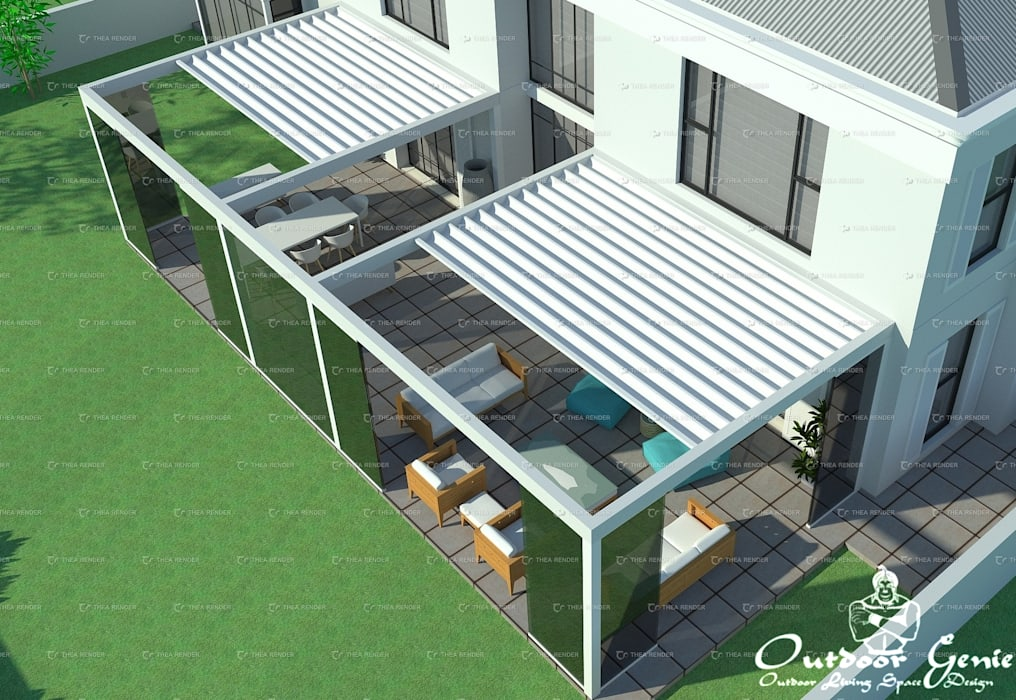 Patio with 2 x Pergolas with retrtactable roofs by Outdoor Genie Modern