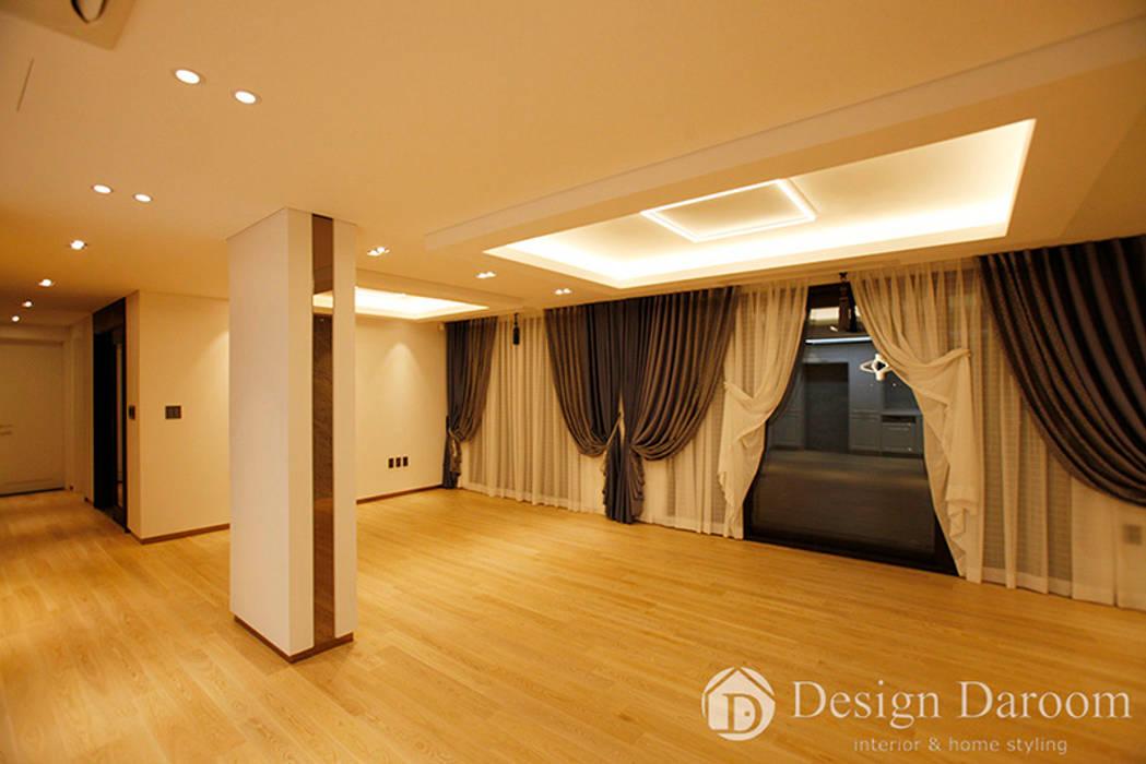 김포 전원주택 78py 1층 거실 모던스타일 거실 by Design Daroom 디자인다룸 모던
