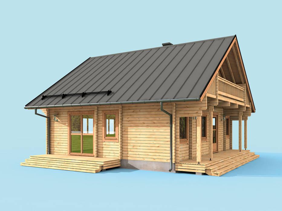 Seitenansicht Außen (ausgestellt) von THULE Blockhaus GmbH - Ihr Fertigbausatz für ein Holzhaus Rustikal Holz Holznachbildung