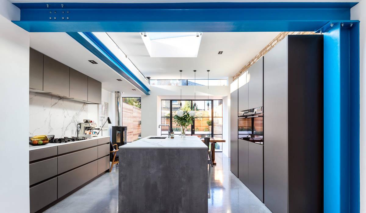 Blue RSJ's Modern Dining Room by APT Renovation Ltd Modern Iron/Steel