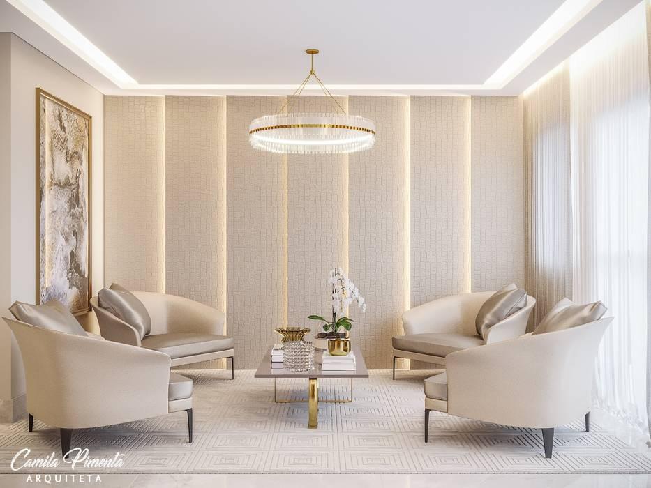 Camila Pimenta | Arquitetura + Interiores Commercial Spaces Wood-Plastic Composite Beige