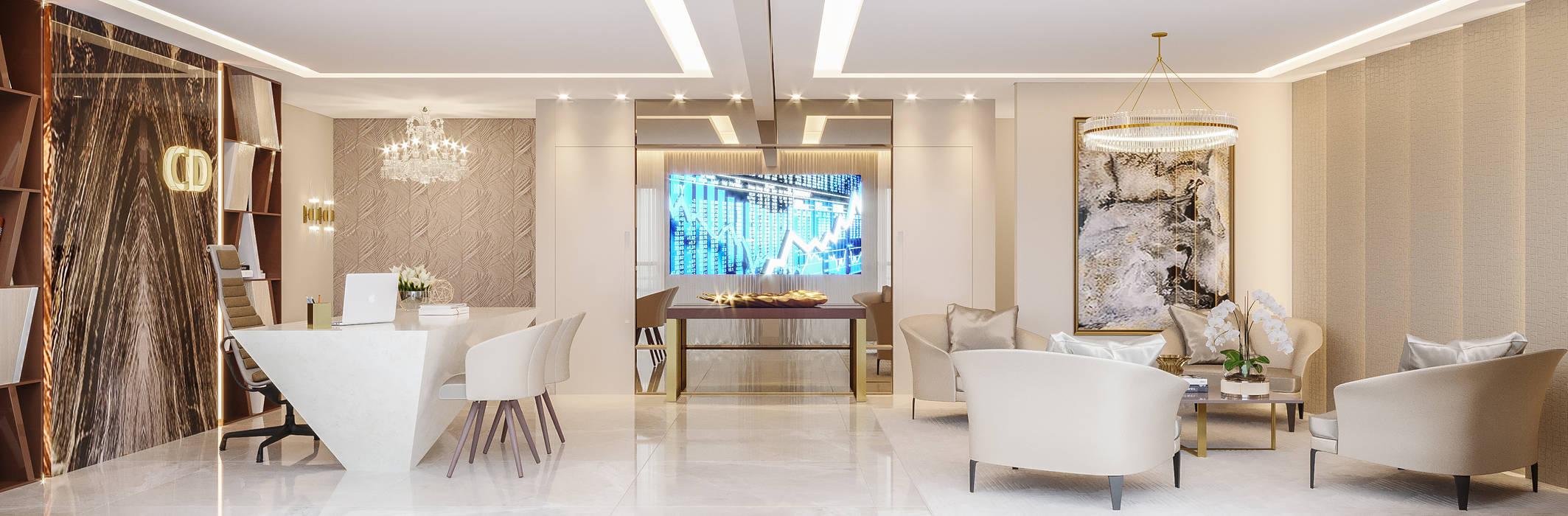 Camila Pimenta | Arquitetura + Interiores Commercial Spaces Marble Beige
