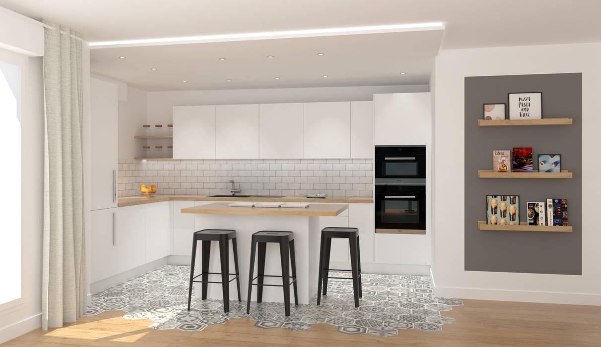 Perspective projet cuisine Cuisine scandinave par Julie LEFEVRE - Design d'Espace et Rendu 3D Scandinave