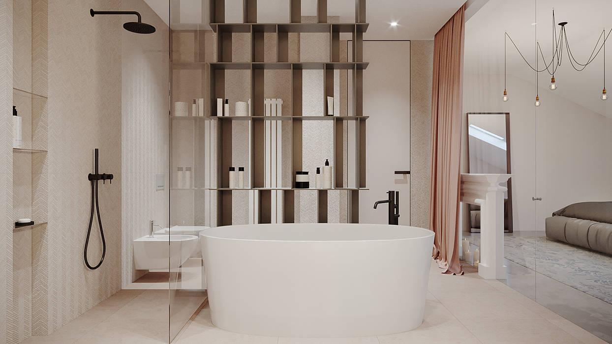 Salle de bain minimaliste par дизайн студия А Гординского Minimaliste Céramique