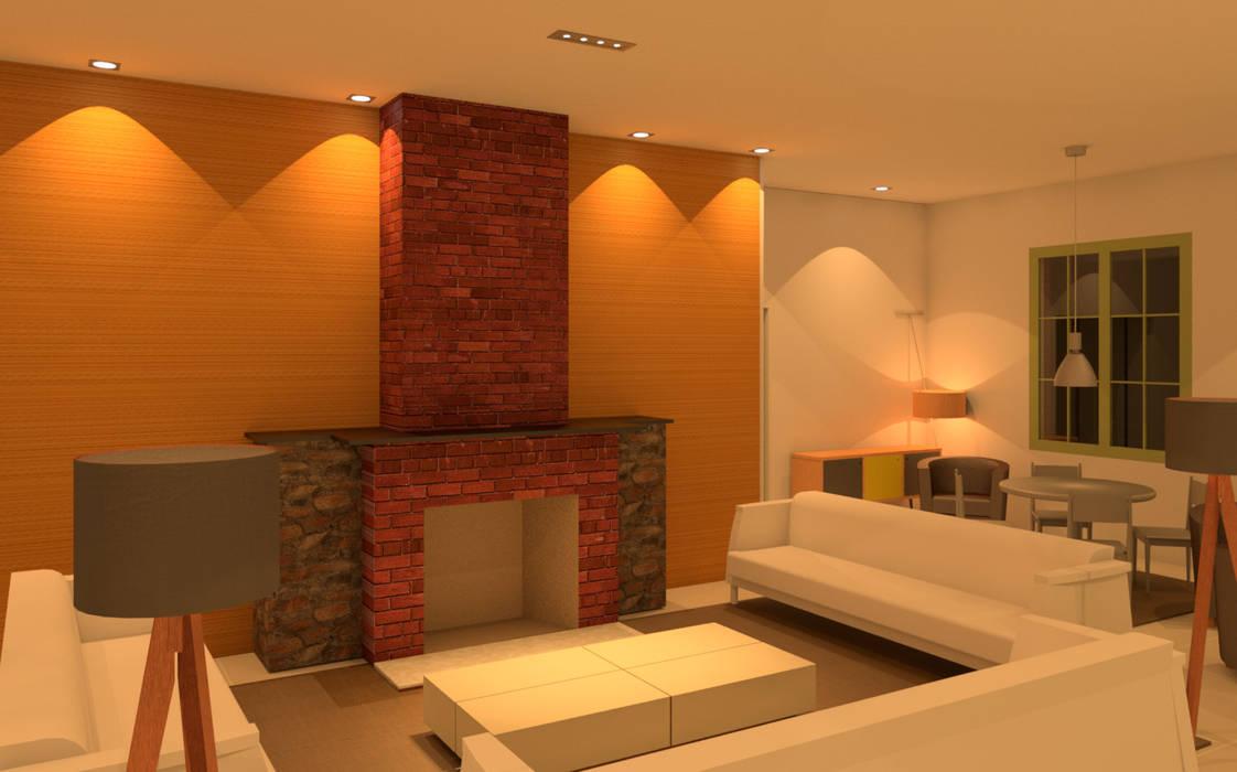 Salas de estar mediterrâneas por Elaine Hormann Architecture -Sao Paulo - Hamburgo Mediterrâneo Tijolo