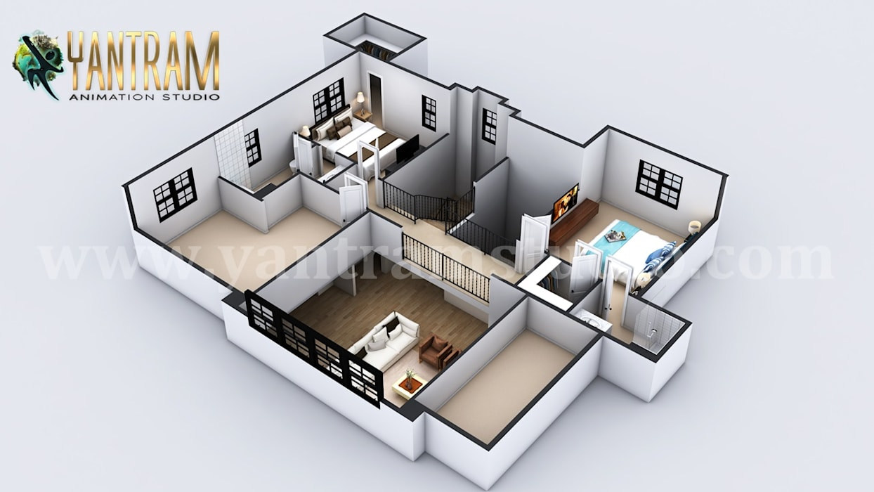 Second Floor Virtual Floor Plan Designer by architectural animation services Oleh Yantram Architectural Design Studio Modern Batu Bata