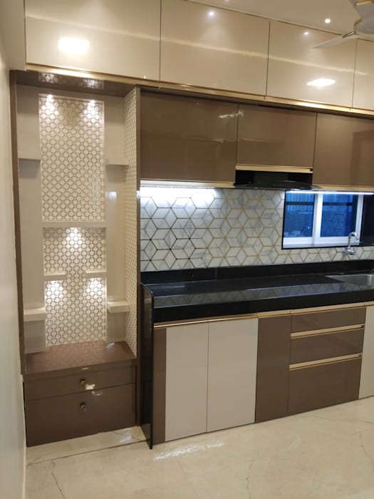 Kitchen storage with pooja space by VR Interior Designerss Asian Plywood