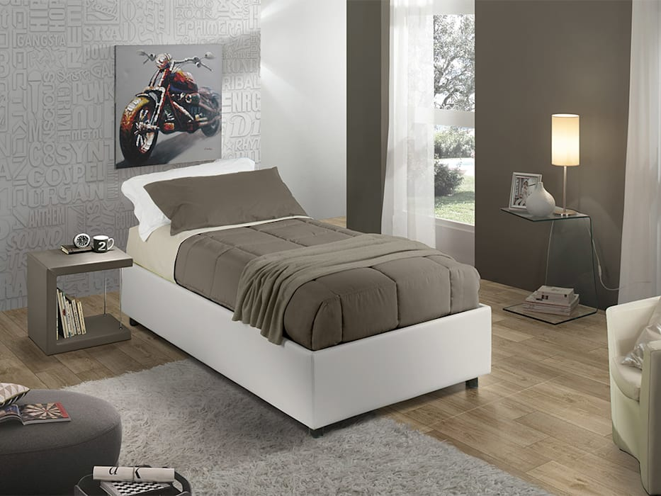 Sommier upholstered single bed INFABBRICA BedroomBeds & headboards Leather White