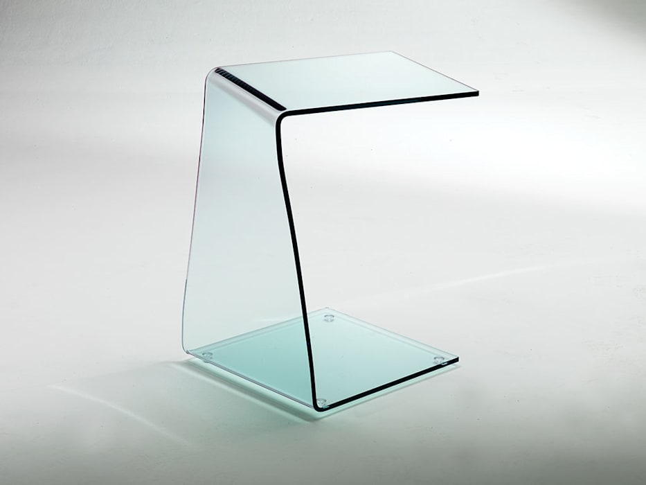 Wry little table in curved glass INFABBRICA 客廳邊桌與托盤 玻璃 Transparent
