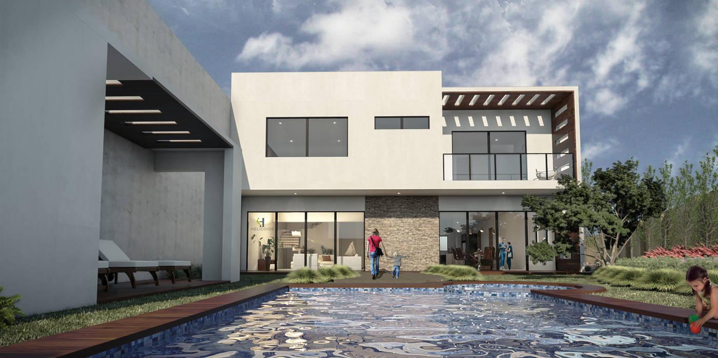 Fachada posterior Casas estilo moderno: ideas, arquitectura e imágenes de Helicoide Estudio de Arquitectura Moderno