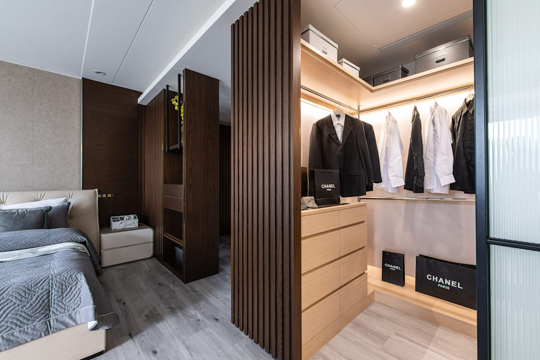 主臥更衣間 你你空間設計 Modern dressing room Wood Brown