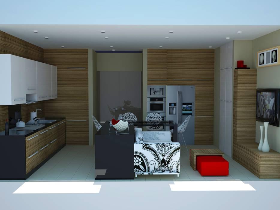 Minimalist dining room by SERPİCİ's Mimarlık ve İç Mimarlık Architecture and INTERIOR DESIGN Minimalist Wood-Plastic Composite