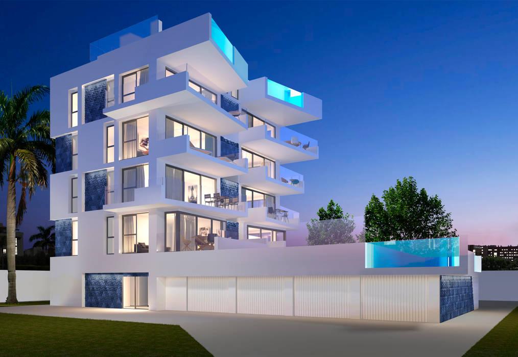 Fachada moderna edificio de apartamentos. Piscinas de cristal. Casas de estilo minimalista de Barreres del Mundo Architects. Arquitectos e interioristas en Valencia. Minimalista Cerámico