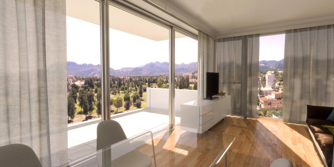 Comedor con vistas, gran ventanal e interiores de madera. Salones de estilo moderno de Barreres del Mundo Architects. Arquitectos e interioristas en Valencia. Moderno Madera Acabado en madera