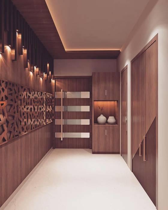 Main entrance foyer area interior decoration Modern corridor, hallway & stairs by Monoceros Interarch Solutions Modern MDF