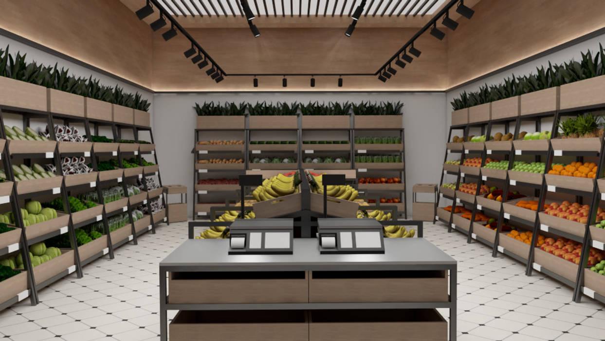 Interior de la la frutería Espacios comerciales de estilo clásico de INARQ Espacio Clásico Madera Acabado en madera