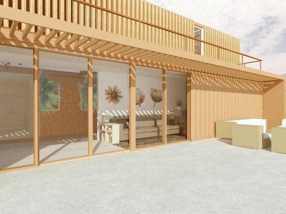 CASA LAS 5 NIÑAS Balcones y terrazas industriales de Hamaca Arquitectura SpA Industrial