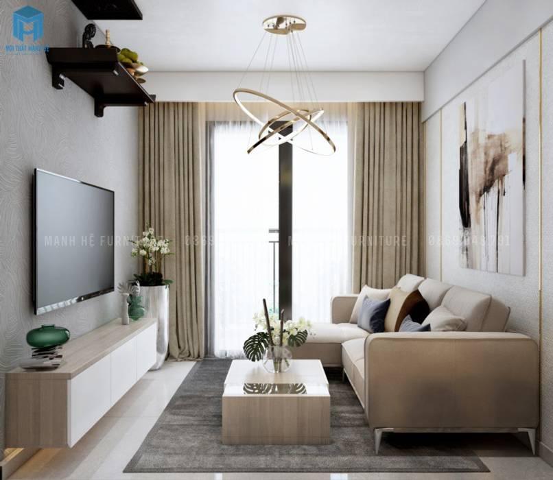 Hiện đại và tiện nghi với kệ tivi treo tường gỗ công nghiệp Phòng khách phong cách Địa Trung Hải bởi Công ty TNHH Nội Thất Mạnh Hệ Địa Trung Hải