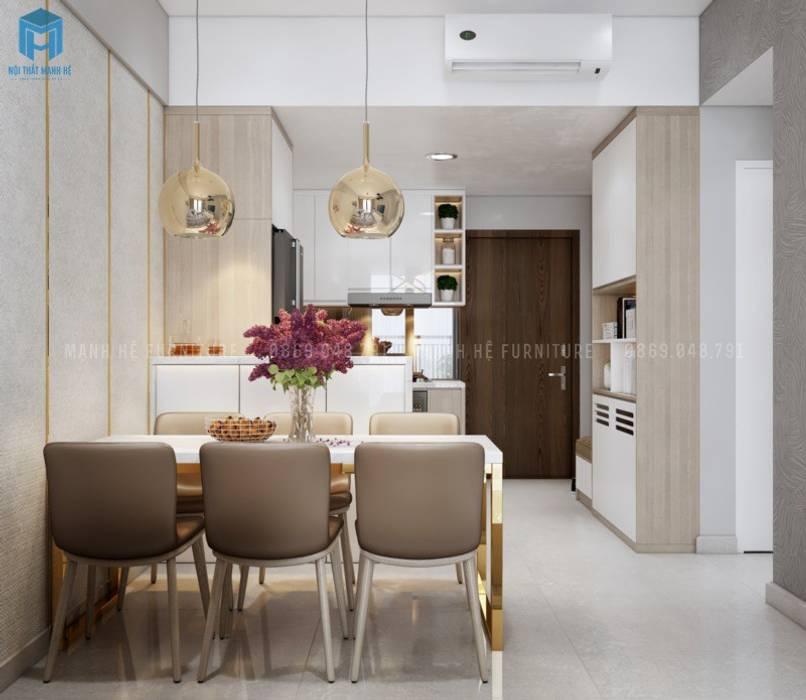Nội thất phòng bếp sang trọng Phòng khách phong cách Địa Trung Hải bởi Công ty TNHH Nội Thất Mạnh Hệ Địa Trung Hải